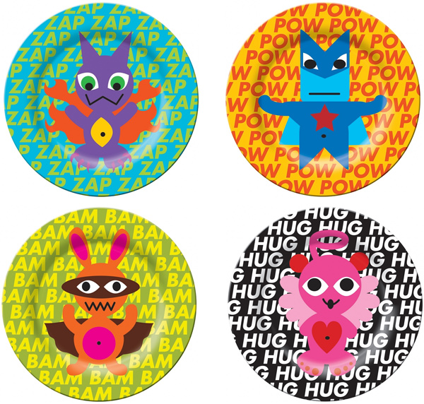 French Bull Superhero Kids Plate Set