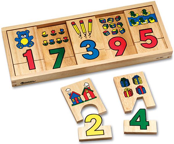 Learning Resources Woodshop Toys 1-2-3 Puzzle Blocks