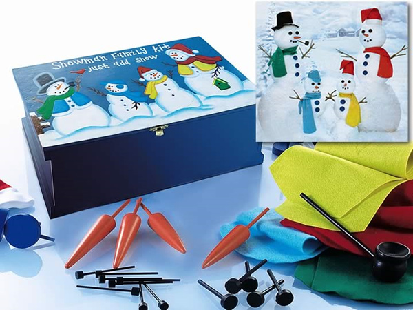 Snowman Family Kit and Wood Chest