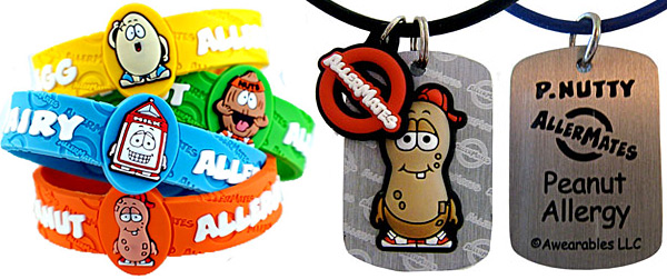 AllerMates Allergy Identification Dog Tags and Wristbands