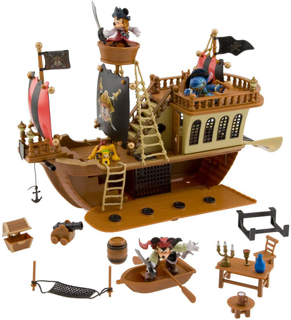 Disney Deluxe Mickey Mouse Pirates of the Caribbean Pirate Ship Play Set
