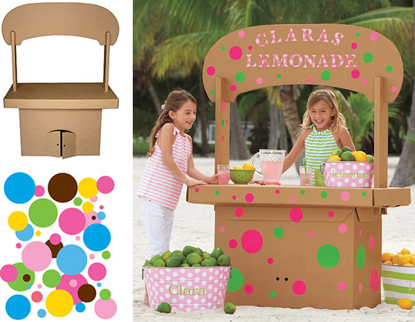 Cardboard Lemonade Stand and Reusable Decals