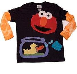 Morfs Elmo Applique with Sock Sleeves Top T-Shirt