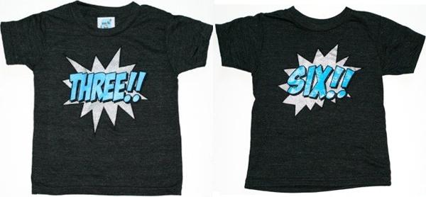 Kids Black Kapow Birthday Number T-Shirts