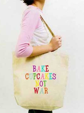 Bake Cupcakes Not War Canvas Tote Bag