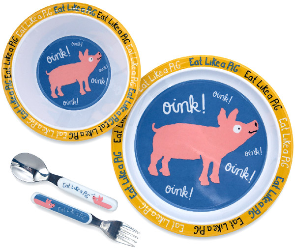 Eat Like a Pig Kids Melamine Dish Set