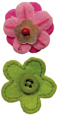 Pink Stitch and Green Button Flower Two Pack