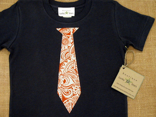 Boutique Lucky Stars Orange Funky Tie Organic Cotton T-Shirt