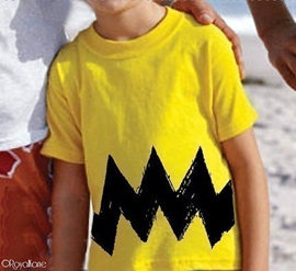 Charlie Brown Cartoon Yellow Black Zig Zag Argyle T-Shirt