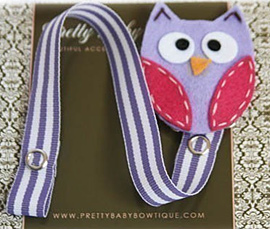 Lavender And Pink Owl Pacifier Clip