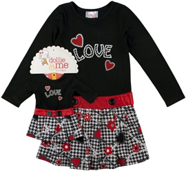 Dollie & Me Toddler Girl's Long Sleeve Hound's-tooth Dress