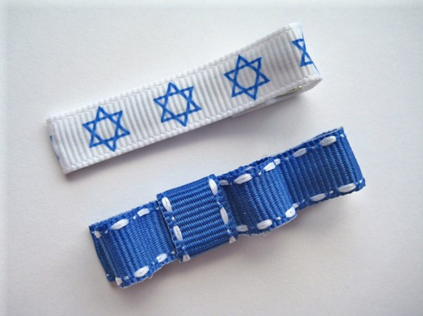 Jewish Star of David and Stitches Mini Bow Clippies