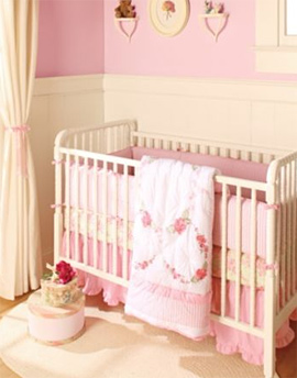 Rose Floral Bedding 4-Piece Crib Set