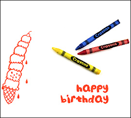 Happy Birthday Ice Cream Color-In Notecard