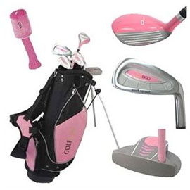 Golf Girl Junior Set for Ages 4-8 with Pink Stand Bag