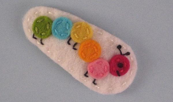 Mini Bright Multicolored Caterpillar Wool Felt Hair Clip