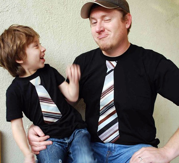 Father and Son Necktie T Shirt Set
