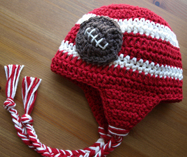 Football Hat Crimson Red and Cream White Brown Football