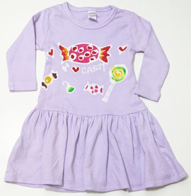 Hiho Batik Violet I Love Candy L/S Dress