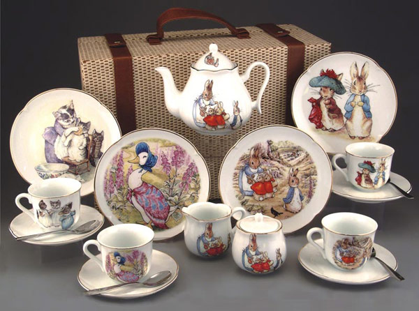 Large Reutter Porcelain Beatrix Potter Tea Set