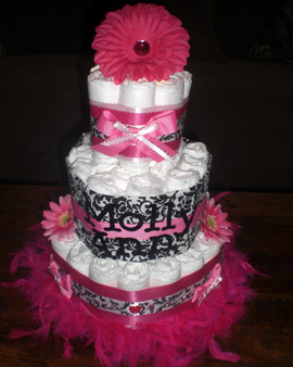 Damask Personalized Diaper Cake